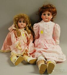 Two German Bisque Socket Head Dolls