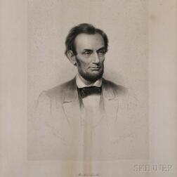 Lincoln, Abraham (1809-1865) Steel Engraved Portrait after Francis Bicknell Carpenter (1830-1900), by Frederick W. Halpin (1805-1880) C