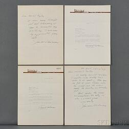 Anderson, Sherwood (1876-1941) Four Letters: Two Autograph Signed and Two Typed Signed.