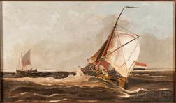 Johannes Frederick (John II) Hulk (Dutch, 1855-1913)    Fishing Ketches in Rough Seas