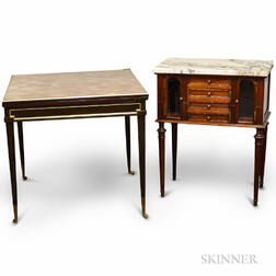 Louis XVI-style Carved Walnut Cabinet and an Ebonized Games Table