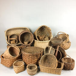 Twenty-three Woven Splint Baskets.
