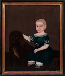 American School, 19th Century      Child Wearing a Blue Dress with a Dog
