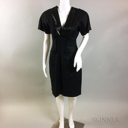 Retro Jacqueline De Ribes Black Linen Dress