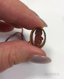 Gold, Enamel, and Hardstone Intaglio Seal Fob