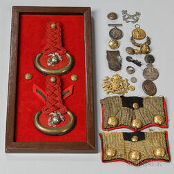 Marine Corps Shoulder Boards and Buttons and a Group of Mostly World War I German and British Medals, Buttons, and Insignia