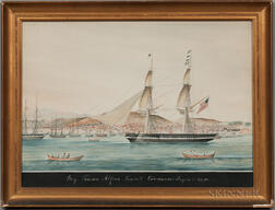 Attributed to Antoine Roux (French, 1821-1882)      Brig Tenedos, Alfred Kenrick Commander. Smyrna 4th July, 1834