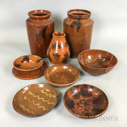 Nine Pieces of Glazed Redware Pottery