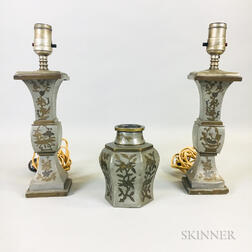 Three Pewter Garniture Items