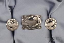 Sterling Silver Dove Brooch and Earclips, Georg Jensen