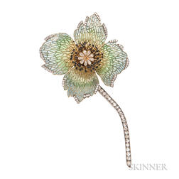 18kt Gold, Plique-a-Jour Enamel, and Diamond Flower Brooch, Evelyn Clothier