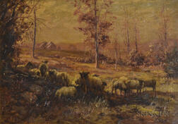 William Preston Phelps (American, 1848-1923)      Sheep at the Edge of an Autumn Field