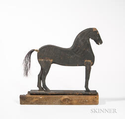 Carved and Black-painted Wood Horse with Horsehair Tail