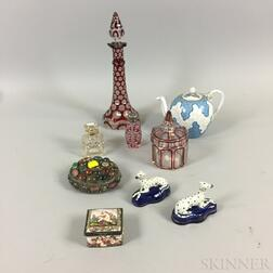 Nine Decorative Glass and Ceramic Items