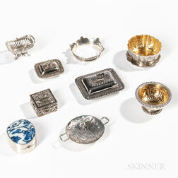 Seven Miniature Silver Serving Pieces and Two Small Boxes