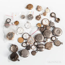 Collection of Coin Silver Watch Cases and Gold-filled Watches