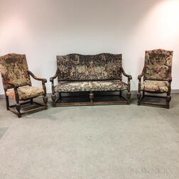 Three-piece Elizabethan-style Carved and Upholstered Fruitwood Parlor Set