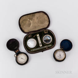 Leather-cased Pocket Compendium and Two Pocket Barometers