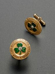 Pair of 1963 World Champion Boston Celtics 10kt Gold, Diamond, and Enameled   Cuff Links