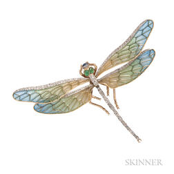 18kt Gold, Plique-a-Jour Enamel, and Diamond Dragonfly Pendant/Brooch, Evelyn Clothier