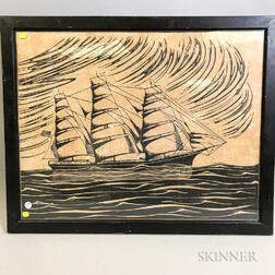 Framed Woodcut of the Clipper Tacoma