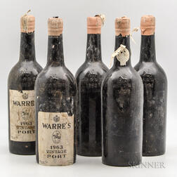 Warres Vintage Port 1963, 5 bottles