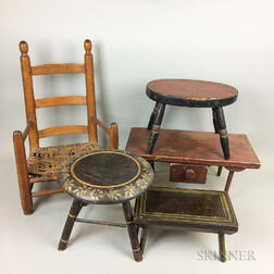 Child's Ladder-back Armchair and Four Painted Stools.     Estimate $400-600