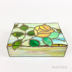 Slag Glass Rose-decorated Trinket Box
