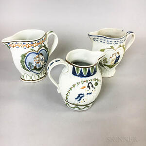 Three Pratt-type Polychrome Ceramic Jugs
