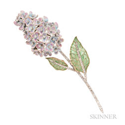 18kt Gold, Plique-a-Jour Enamel, Enamel, and Diamond Lilac Brooch, Evelyn Clothier