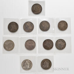 Ten Capped Bust Half Dollars and an 1876-S Seated Liberty Half Dollar