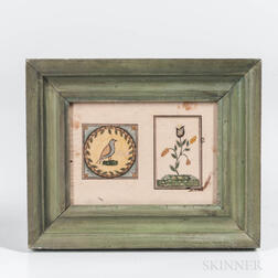 American School, Mid-19th Century      Double Picture of a Bird and Flower