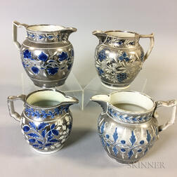 Four Silver Resist Lustre Ceramic Jugs with Blue Accents