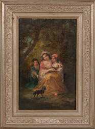 Continental School, 19th Century      Gypsy Mother and Daughters with a Dog