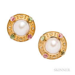 18kt Gold, Mabe Pearl, and Colored Stone Earrings