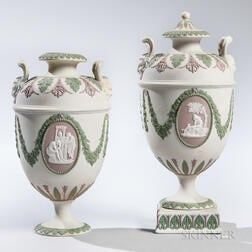 Pair of Wedgwood Tricolor Jasper Vases and Cover