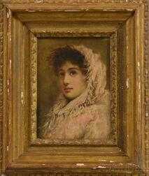 Continental School, 19th Century      The Pink Shawl