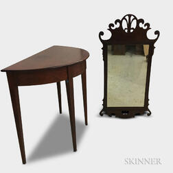 Federal-style Cherry Demilune Side Table and a Chippendale-style Mahogany Mirror.     Estimate $200-400