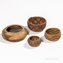 Four Small California Basketry Bowls