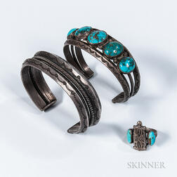 Two Navajo Bracelets and a Ring