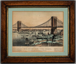 Lithograph Print The Great East River Bridge