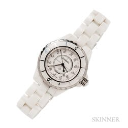 "Ceramic and Stainless Steel ""J12"" Wristwatch, Chanel"