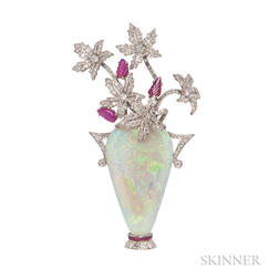Platinum, Opal, and Ruby Flowerpot Brooch, Evelyn Clothier