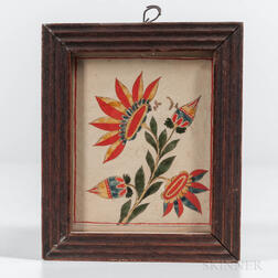 Pennsylvania School, Mid-19th Century      Polychrome Painted Flower