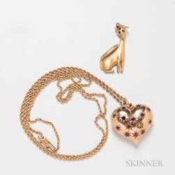 18kt Gold Cat Charm and a 14kt Gold Gem-set Heart Pendant