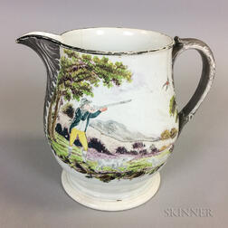 Enameled Ceramic Hunt Jug with Silver Lustre Accents