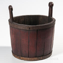 Red-painted Staved Bucket