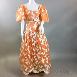 Arnold Scaasi Orange and White Gown