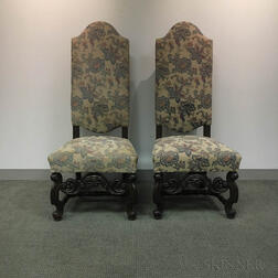 Pair of Baroque-style Carved and Upholstered Oak Side Chairs