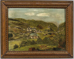 American School, Late 19th/Early 20th Century      Landscape Painting Thought to be Bethlehem, Pennsylvania